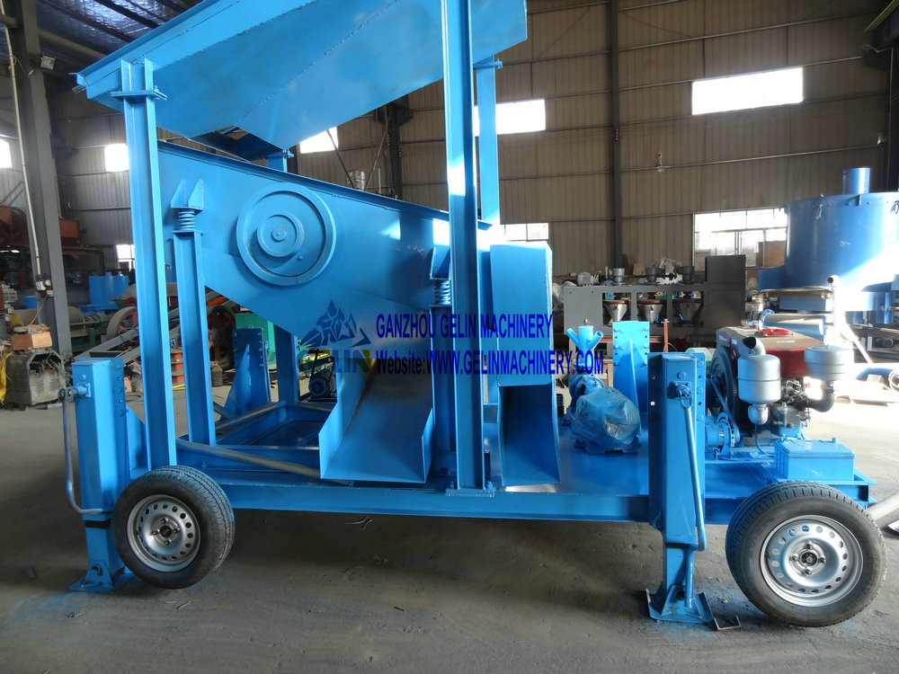 Mobile vibrating screen washing plant